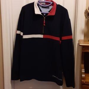 Tommy Hilfiger blue red sweatshirt zip front L